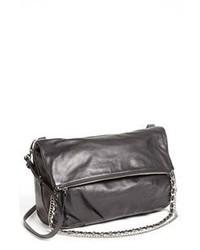 Темно-серая кожаная сумка через плечо
