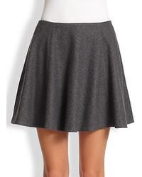 Темно-серая короткая юбка-солнце