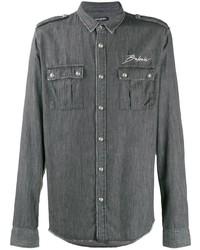 Мужская темно-серая куртка-рубашка с вышивкой от Balmain