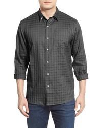 Темно-серая льняная рубашка с длинным рукавом