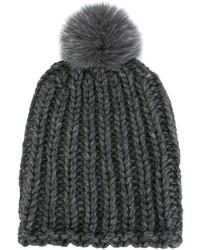 Женская темно-серая меховая вязаная шапка от Danielapi
