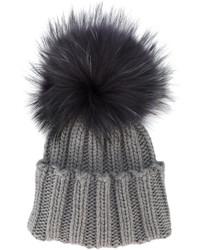 Женская темно-серая меховая шапка от Inverni