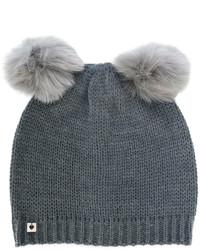 Женская темно-серая меховая шапка от Twin-Set