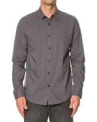 Темно-серая рубашка с длинным рукавом в горошек