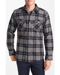 Темно-серая рубашка с длинным рукавом в шотландскую клетку