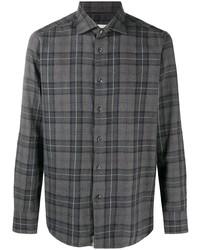Мужская темно-серая рубашка с длинным рукавом в шотландскую клетку от Tintoria Mattei