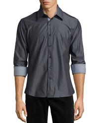 Темно-серая рубашка с длинным рукавом