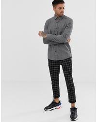 Мужская темно-серая рубашка с длинным рукавом от ASOS DESIGN