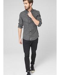 Мужская темно-серая рубашка с длинным рукавом от s.Oliver
