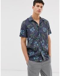 Мужская темно-серая рубашка с коротким рукавом с цветочным принтом от PS Paul Smith