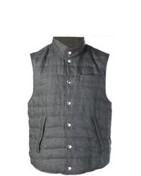 Мужская темно-серая стеганая куртка без рукавов от Brunello Cucinelli