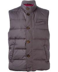 Мужская темно-серая стеганая куртка без рукавов от Eleventy