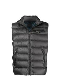 Мужская темно-серая стеганая куртка без рукавов от Prada