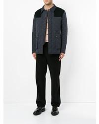 Темно-серая стеганая куртка с воротником и на пуговицах от Gieves & Hawkes
