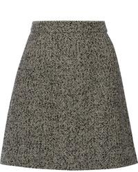 Темно-серая твидовая мини-юбка