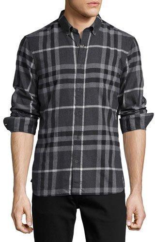 79f91ebc140f ... Мужская темно-серая фланелевая рубашка с длинным рукавом в клетку от  Burberry