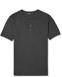 Темно-серая футболка на пуговицах
