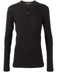 Мужская темно-серая футболка на пуговицах от Dolce & Gabbana