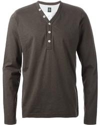 Мужская темно-серая футболка на пуговицах от Eleventy