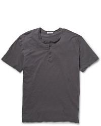 Мужская темно-серая футболка на пуговицах от James Perse