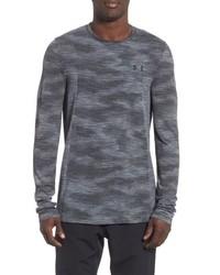 Темно-серая футболка с длинным рукавом с камуфляжным принтом