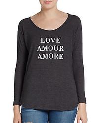 Темно-серая футболка с длинным рукавом с принтом