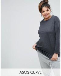 Женская темно-серая футболка с длинным рукавом от Asos