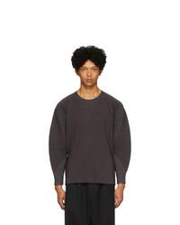 Мужская темно-серая футболка с длинным рукавом от Homme Plissé Issey Miyake
