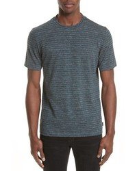Темно-серая футболка с круглым вырезом в горизонтальную полоску