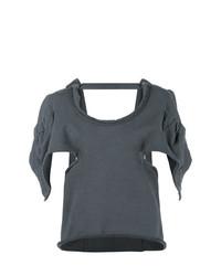 Женская темно-серая футболка с круглым вырезом с вырезом от JW Anderson