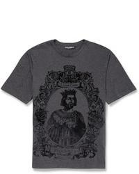 Темно-серая футболка с круглым вырезом с принтом