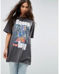 Женская темно-серая футболка с круглым вырезом с принтом от Asos