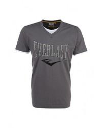 Мужская темно-серая футболка с круглым вырезом с принтом от Everlast