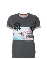 Женская темно-серая футболка с круглым вырезом с принтом от N°21