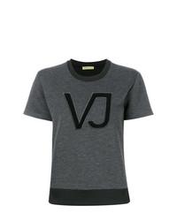 Женская темно-серая футболка с круглым вырезом с принтом от Versace Jeans