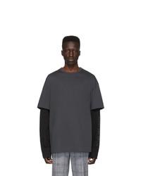 Мужская темно-серая футболка с круглым вырезом от Juun.J