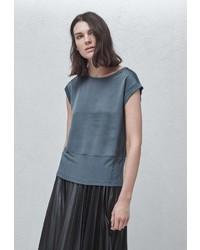 Женская темно-серая футболка с круглым вырезом от Mango