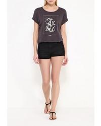 Женская темно-серая футболка с круглым вырезом от Roxy
