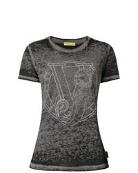 Женская темно-серая футболка с круглым вырезом от Versace Jeans