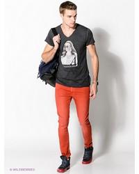 Мужская темно-серая футболка с v-образным вырезом с принтом от Boom Bap Wear