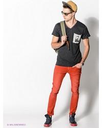Мужская темно-серая футболка с v-образным вырезом от Boom Bap Wear