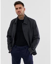 Мужская темно-серая шерстяная куртка-рубашка от ASOS DESIGN