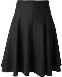 Темно-серая юбка-миди со складками