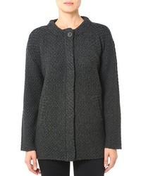 Темно-серое вязаное пальто