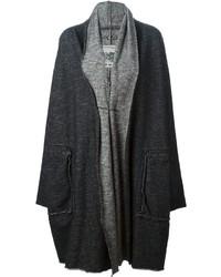 Женское темно-серое вязаное пальто