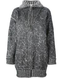 Женское темно-серое вязаное пальто от Jean Paul Gaultier