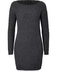 Темно-серое вязаное платье-свитер
