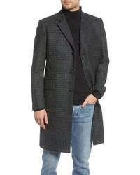 Темно-серое длинное пальто в мелкую клетку