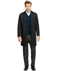 Мужское темно-серое длинное пальто в шотландскую клетку от Brooks Brothers