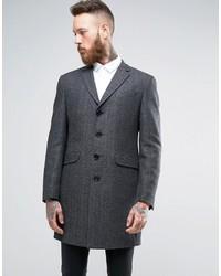 """Темно-серое длинное пальто с узором """"в ёлочку"""""""